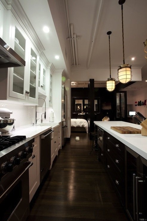 Black And White Galley Kitchen Contemporary Kitchen