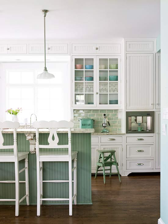 Kitchen Ideas White Cabinets Seafoam Green