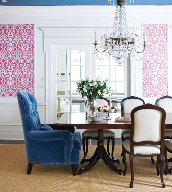 Pink and blue dining room eclectic dining room style for Pink dining room ideas