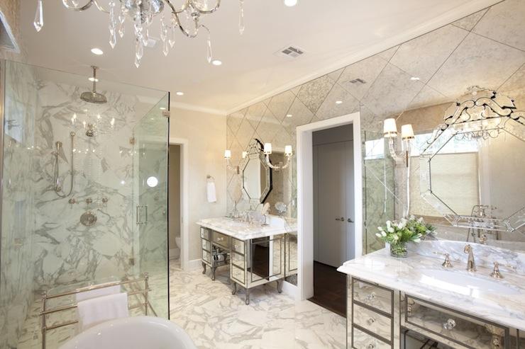 Mirrored Vanities Traditional Bathroom Laura U