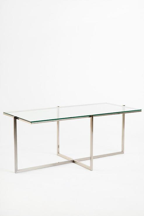 abigail stainless steel geometric detail coffee table