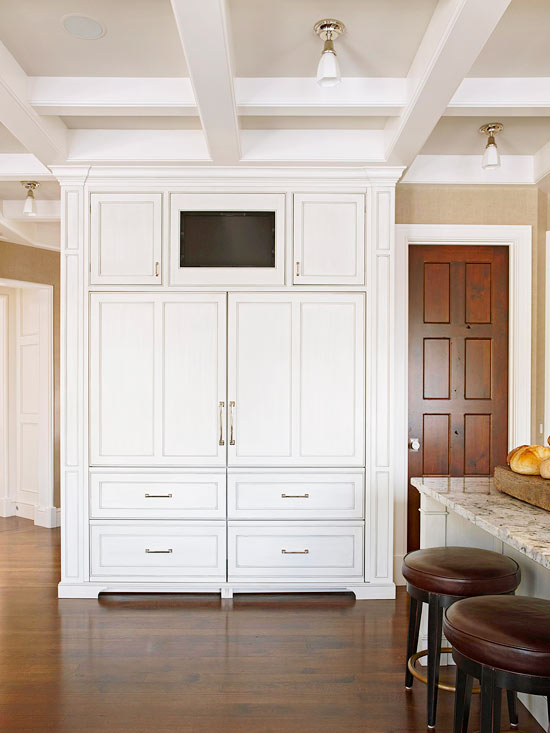 built in tv niche transitional kitchen bhg. Black Bedroom Furniture Sets. Home Design Ideas