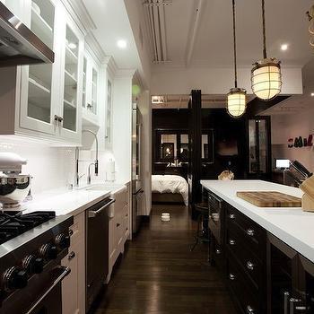 White Upper Cabinets Dark Lower Cabinets Contemporary