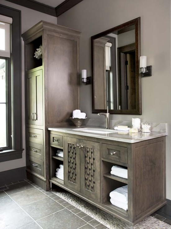 Dark gray bathroom cabinets design ideas for Grey bathroom cupboard