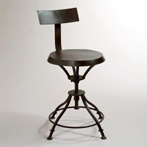 Arteriors Home Rochefort Iron Wood Linen Bar Stool