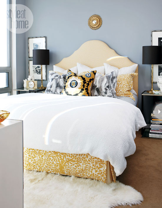 yellow and gray bedroom contemporary bedroom style at home