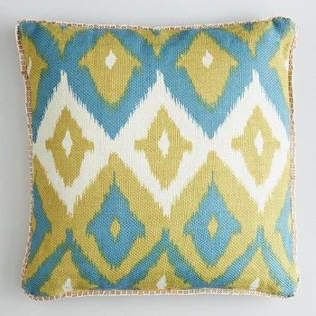 Green Ikat Print Burlap Throw Pillow, World Market