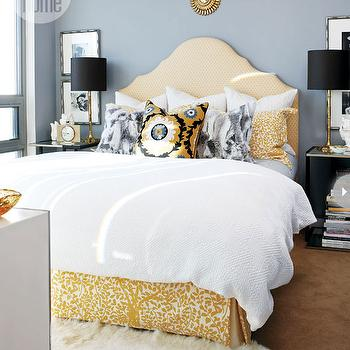 Yellow and Gray Bedroom, Contemporary, bedroom, Style at Home