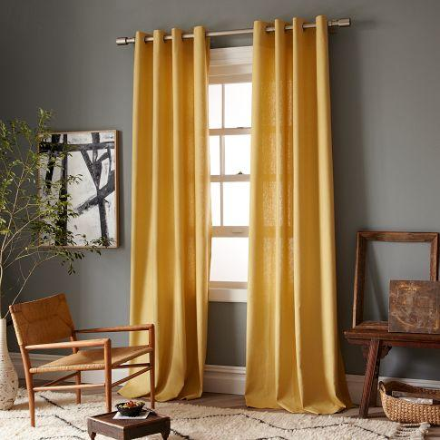 Linen cotton grommet window panel desert marigold west elm for West elm window treatments