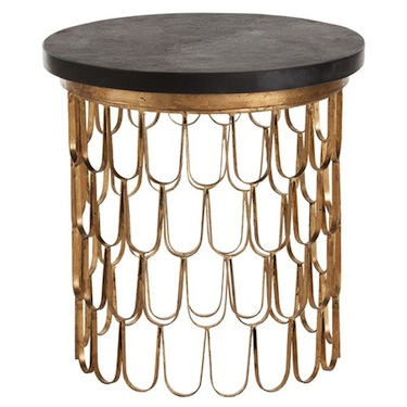 Arteriors Orleans Gold Leaf Iron Marble End Table Look 4 Less