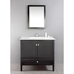Windham Black 36 Inch Bath Vanity With White Marble Top   Overstock.com