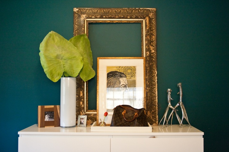 Teal walls transitional entrance foyer natalie for Decor vignette