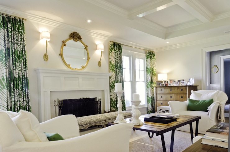 White And Green Living Room Transitional Living Room