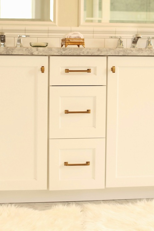 White Cabinets With Brass Hardware Transitional Bathroom Benjamin Moore White Dove White