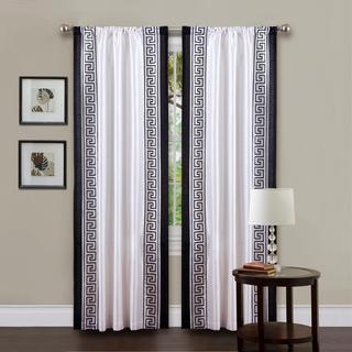 lush decor white black 84inch curtain panel