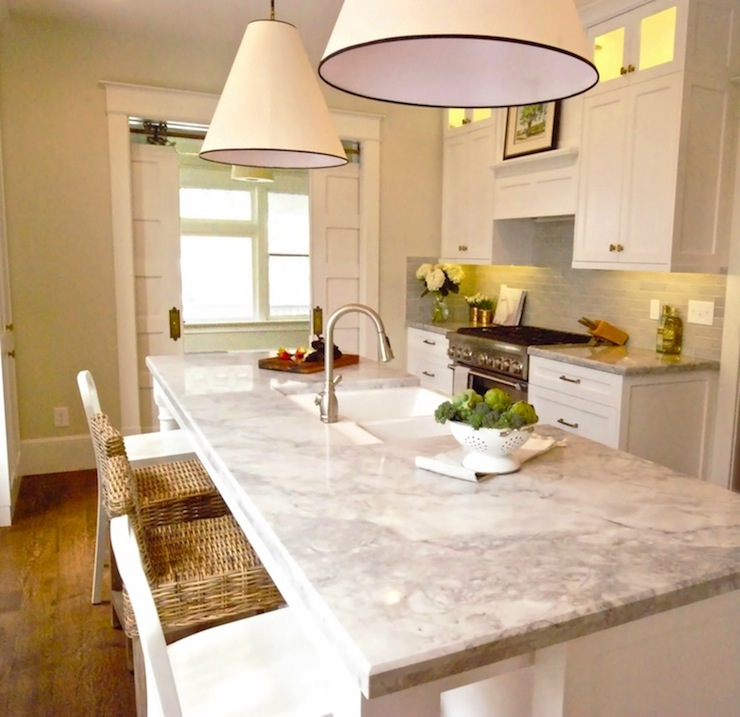 Super White Quartzite Transitional Kitchen Benjamin
