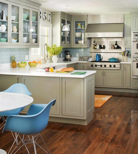 Gray and blue kitchen contemporary kitchen bhg for Blue and white kitchen cabinets