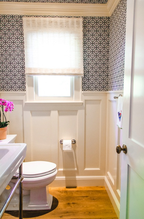 Geometric wallpaper contemporary bathroom evars and - Bathroom wall paneling ideas ...