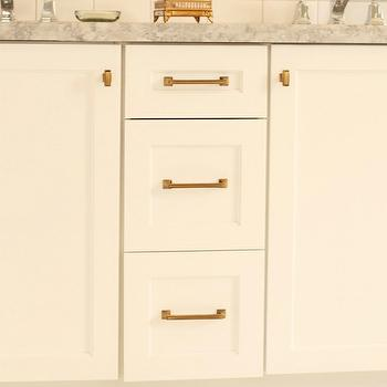 White Cabinets with Brass Hardware, Transitional, bathroom, Benjamin Moore White Dove, White & Gold Design