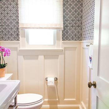 Geometric Wallpaper, Contemporary, bathroom, Evars and Anderson