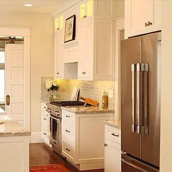 White Dove Cabinets, Transitional, kitchen, Benjamin Moore White Dove, White & Gold Design