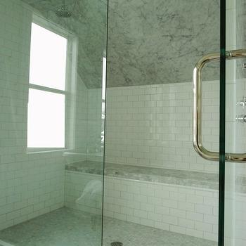 Glass Shower Design, Transitional, bathroom, White & Gold Design