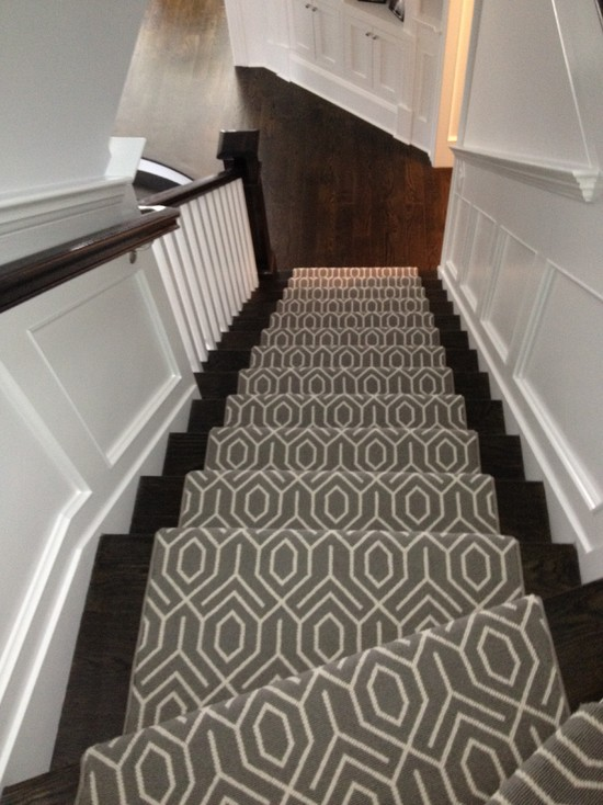 Geometric Stair Runner Transitional Entrancefoyer