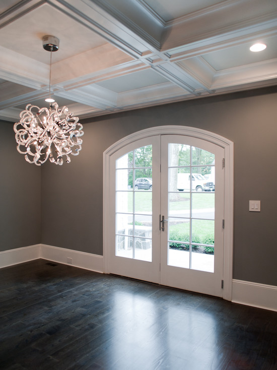 Dark Gray Walls Transitional Dining Room Muralo Pain