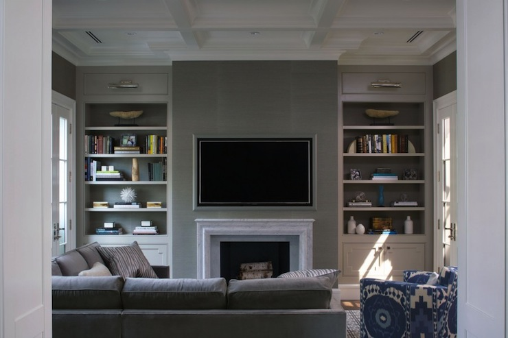 Fireplace TV Niche - Contemporary - living room