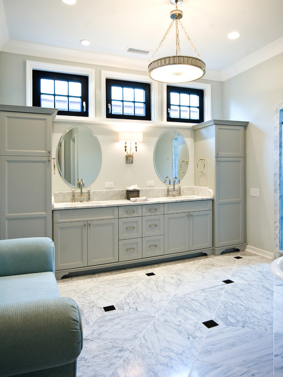 Light Gray Bathroom Cabinets Design Ideas