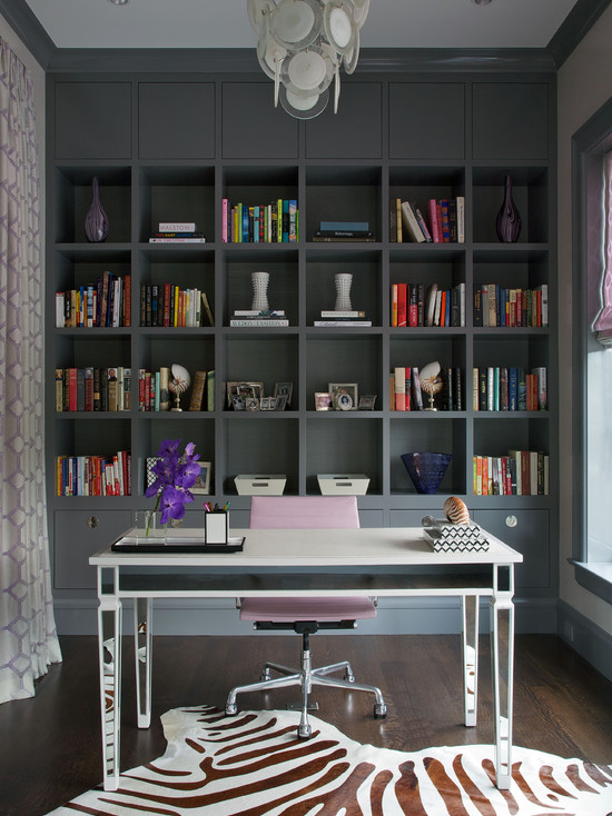 Gray Home Office  Contemporary  denlibraryoffice  Pacific