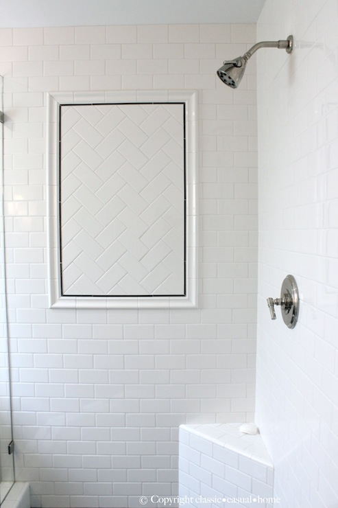 White Stone Subway Tile In Shower Design Ideas
