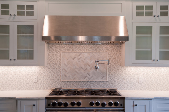 Marble Herringbone Tiled Backsplash Design Ideas