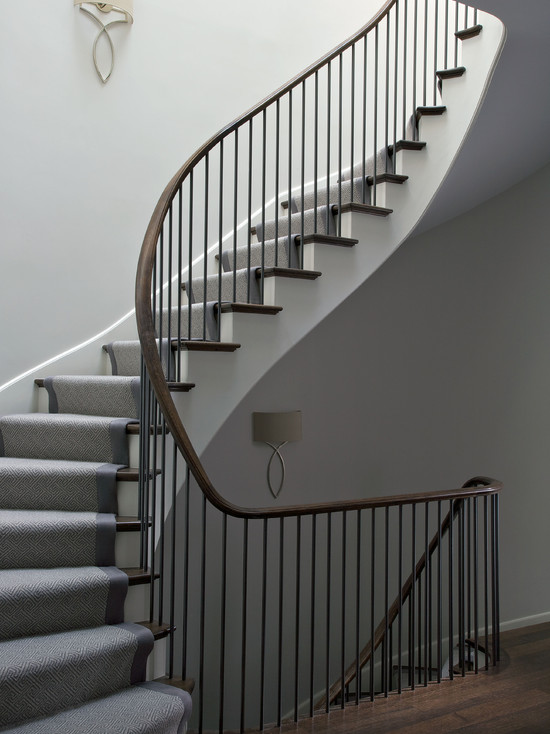 Winding Staircase Contemporary Entrance Foyer