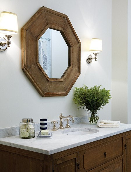 Powder Room With Clean Crisp White Walls And Restoration Hardware Lugarno Si