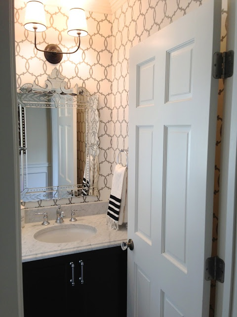 Gorgeous Powder Room With F Schumacher Tracery Charcoal Wallpaper
