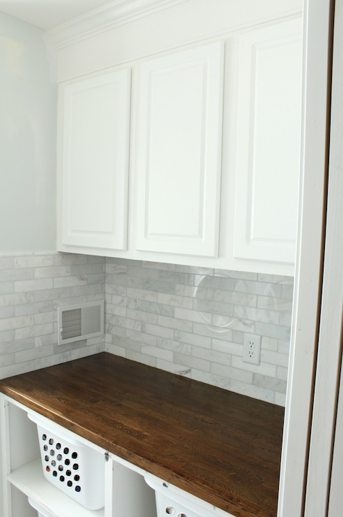 Linear Marble Tile Backsplash Traditional Laundry Room