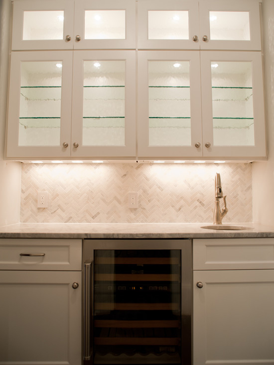 Marble Herringbone Tile Backsplash Transitional