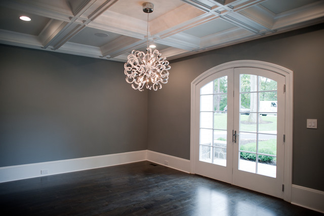 Dark Gray Walls, Transitional, dining room, Muralo Pain Majestic Sky, Michelle Winick Design