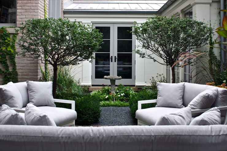 View Full Size. Fantastic Backyard Courtyard With Modern White Outdoor  Furniture With Light Gray Cushions.