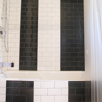 Black And White Subway Tile View Full Size Stunning Bathroom With Drop In Tub Lined