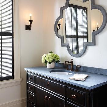 Quatrefoil Mirror, Traditional, bathroom, Benjamin Moore Black Jack, House & Home