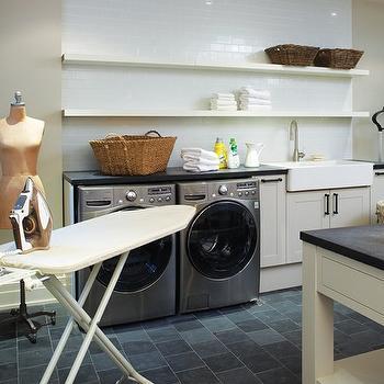Ikea Lack Shelf, Transitional, laundry room, Martha Stewart Sharkey Gray, House & Home