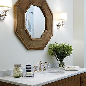 Octagonal Mirror, Traditional, bathroom, Para Paints Snow Pixie, House & Home