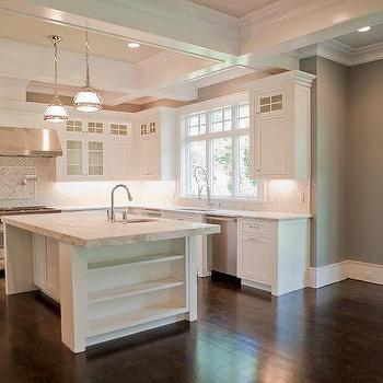 Coffered Kitchen Ceiling, Transitional, kitchen, Muralo Pain Majestic Sky, Michelle Winick Design