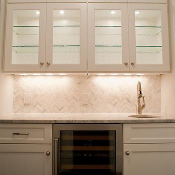 Michelle Winick Design Marble Herringbone Tile Backsplash