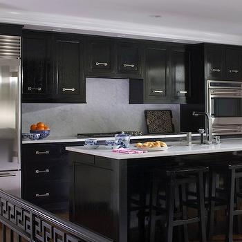 Black marble countertops design ideas - Glossy black kitchen cabinets ...