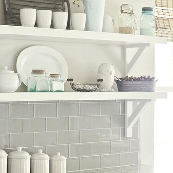 Gray Glass Tile Backsplash, Transitional, kitchen, Valspar Tranquil, Jenna Sue Design
