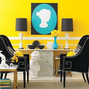 Yellow and Black Living Room, Eclectic, kitchen, House & Home