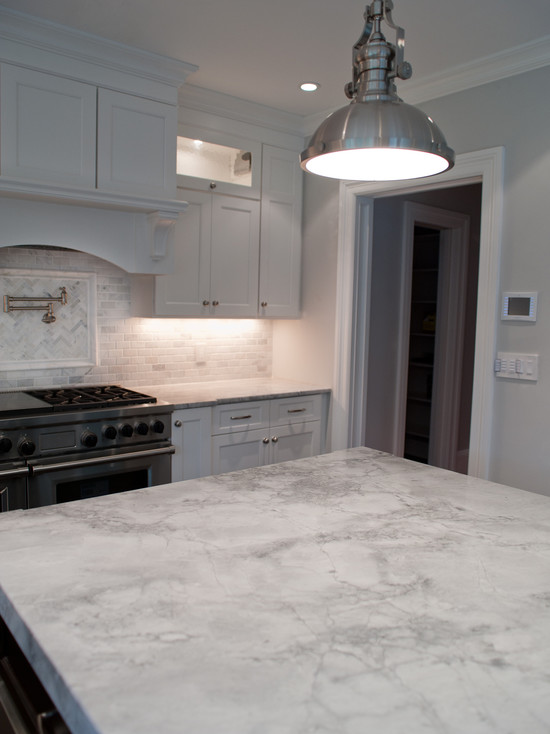 Super White Granite Countertops : Super white quartzite transitional kitchen muralo